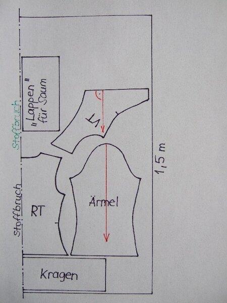Schnittauflageplan dunkelrost Strickjacke