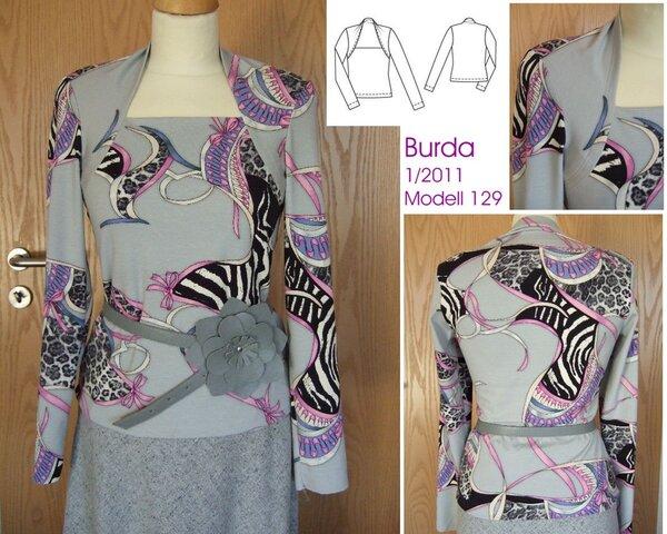 Shirt mit Bolero-Optik Burda 1/2011 Modell 129