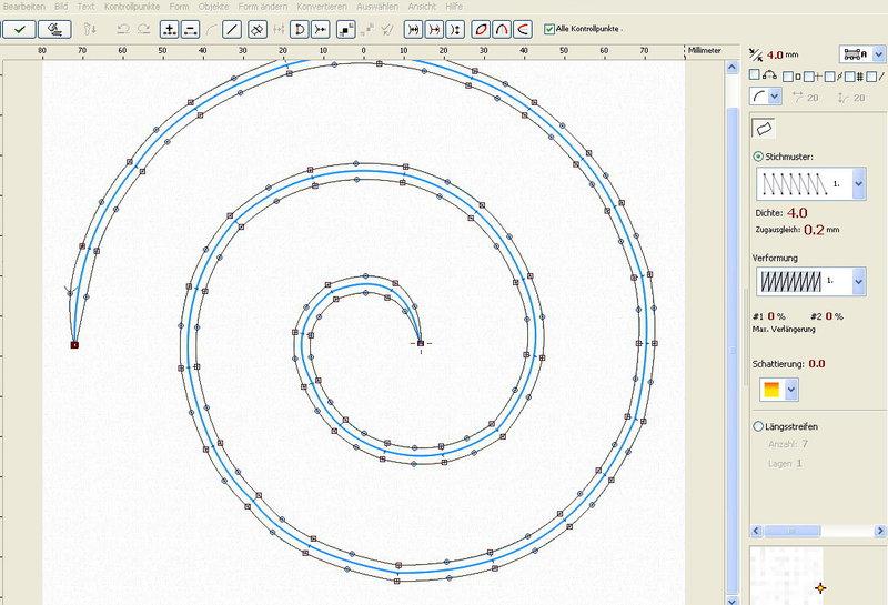 Eine Spirale im Embird digitalisieren? - Maschinensticken