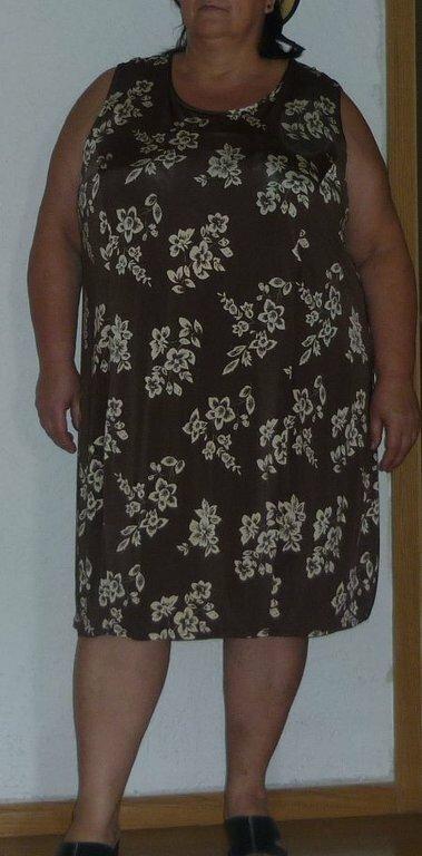 Kleid braun mit Blumen Stoff: brauner Blumenjersey Schnitt: Zwischenmass 65109