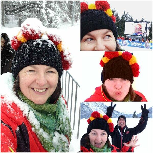 Deutschlandmuetze im Einsatz beim Biathlon