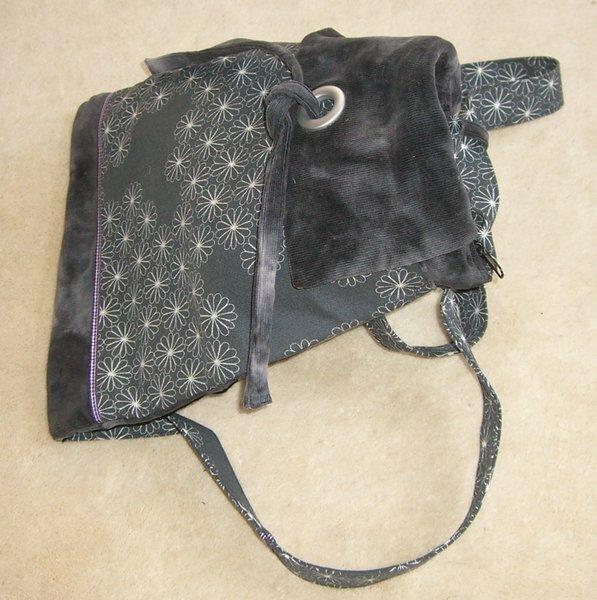 Falttasche aufgeklettet als Rucksack.