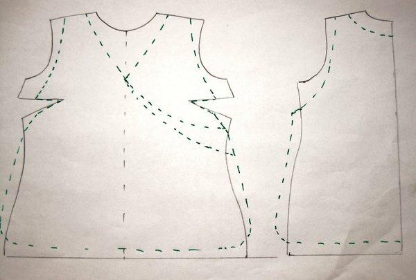 sarah kayschürzenschnitt zeichnung 001 zugrunde liegt ein passender blusenschnitt,das vorderteil in der vorderen mitte gespiegelt.das rückenteil liegt im stoffbruch. die gestrichelten linien sind die neuen modelllinien.