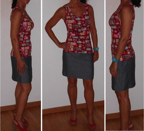 Top rot und Rock jeans beide nach Grundschnitt nach eigener Maßen