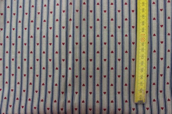 H27: Streifen Herzen beige Material: vermutlich Mischgewebe Eigentümer: Stefanie85 100 x 60 => 0,60 m²