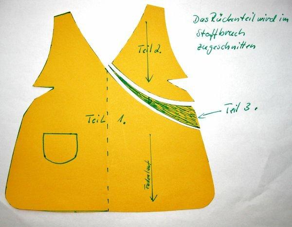 sarah kayschürzenschnitt zeichnung 002 hier sieht man die einzelnen schnittteile des vorderteils mit dem eingezeichneten fadenlauf.