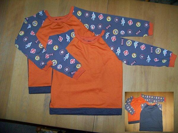 """100 4996 vorn und hinten kleiner Trigema Sweat in grau und orange plus Stoffmarktbündchen und Stoffmarktjersey """"Autumn Rockers Kids leger"""" in Gr. 146"""