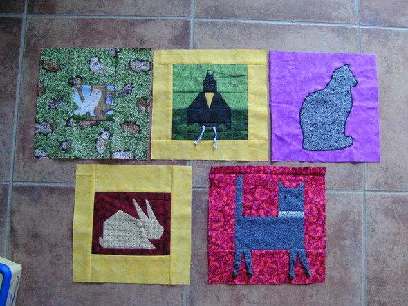 5 Blöcke für meinen Wandquilt 26,5 x 26,5 cm RoundRobin Reihenquilt 2012