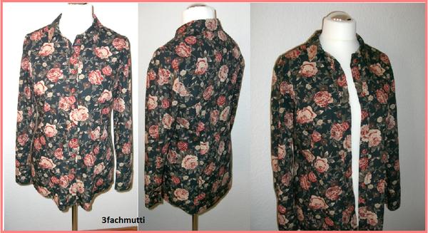 dieser schöne Rosenstoff hat es mir angetan Bluse lang Burda 7608 Gr.40 A Rosenstoff