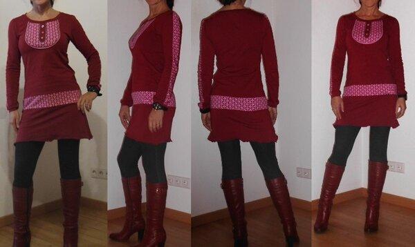Shirt Kleid Joana Bordeaux