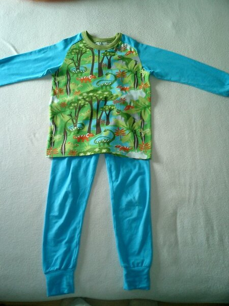 Jersey-Schlafanzug mit Dino-Motiven in Größe 116.