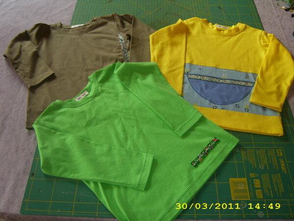 Drei einfache Langarm-Shirt ins Gr.98 für den Frühling.