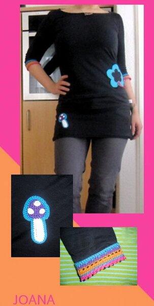 joana meine erste:Toller Schnitt und super Passform. Mit Häkeldetails :)