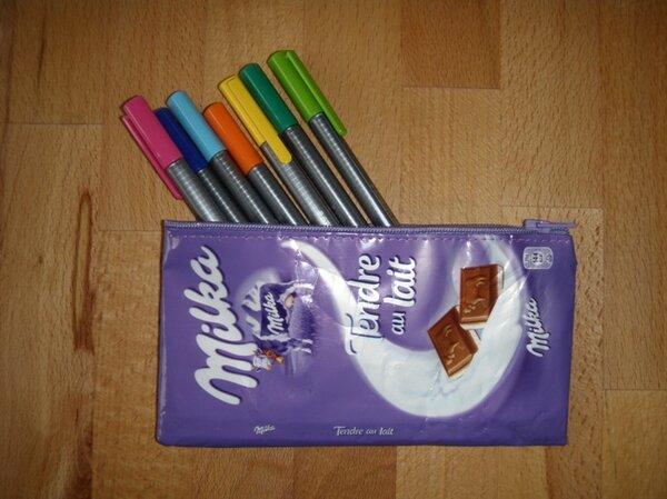 Milka-Mäppchen aus Schokipapier