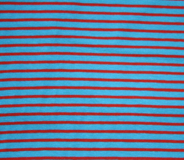 75. Ringeljersey BW/EL türkis rot  0,5 m x 1,55 m