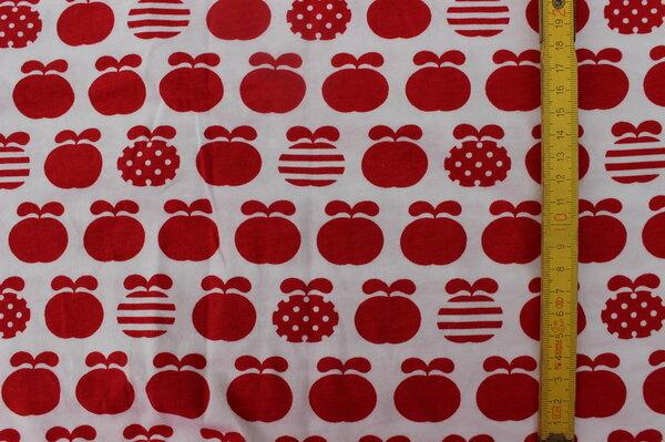K6: Lillestoff Jersey Äpfel rot Eigentümer: littlelursa Reservierung: ToniMama 170 x 47 => 0,80 m² Tauschfaktor 150%  Tauschwert 1,20 m²