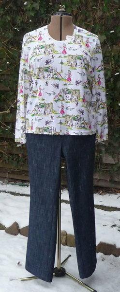 Shirt Burda 8998 und Jeans PC 00-126 Der Jersey ist weich und fest genug für die Zwillingsnaht.