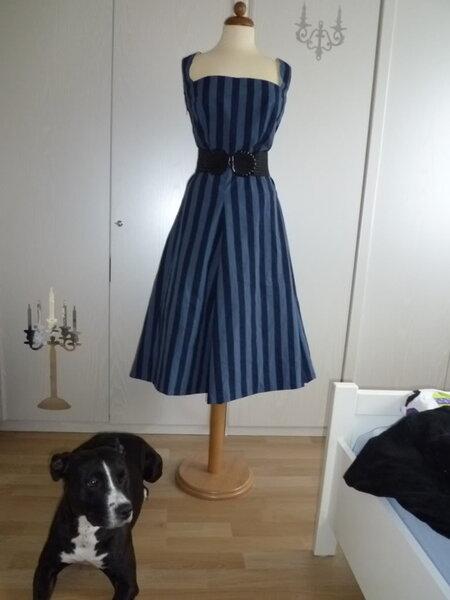 Blaues Kleid mit Hund