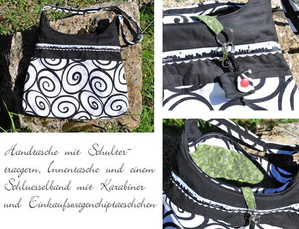 Handtasche in schwarz weiß mit Details im Inneren