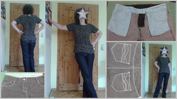 Jeans - abgenommener Schnitt mit zahlreichen Überarbeitungen
