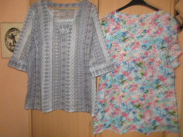 links Tunika, rechts Kimono-T aus Seide