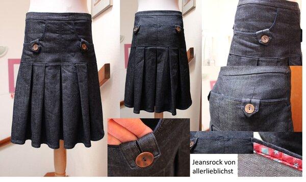 Jeansrock mit Falten und Taschen