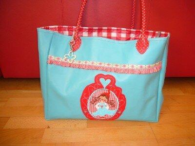 ♥ türkis rote Kunstleder Tasche ♥