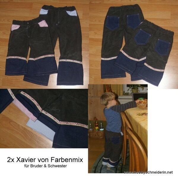 2 x Xavier, Hosen für Bruder & Schwester