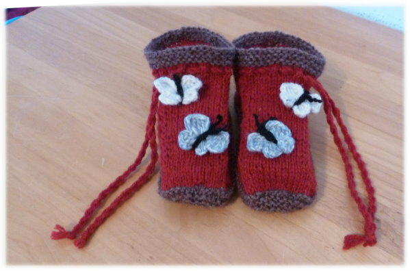 Non-felted Slippers mit Schmetterlingen