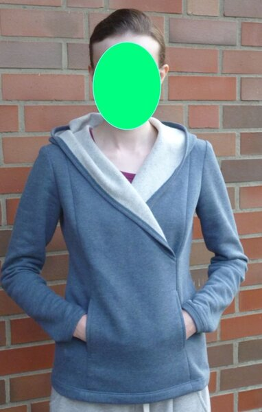 Pullover aus Sweatshirtstoff mit Teilungsnähten und Kapuze