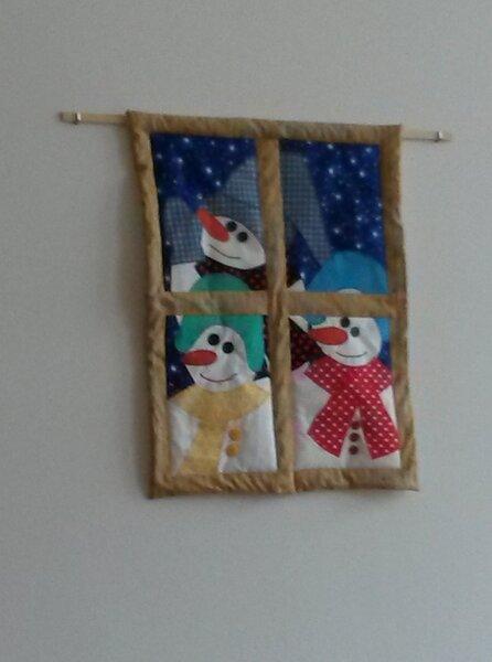 Wandquilt mit Schneemännern