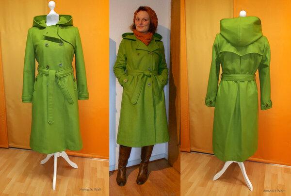 Wolltrench oder Mantel im Trenchcoatstil aus Wollstoff
