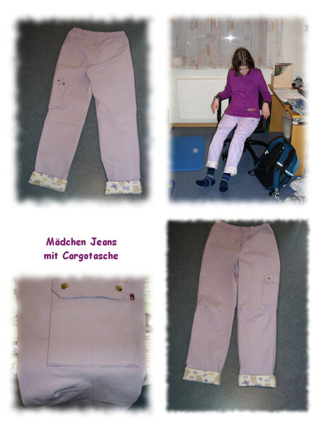 Mädchen Jeans mit Cargotasche