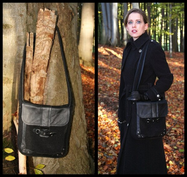 Tasche in Leder-Stoff-Kombination