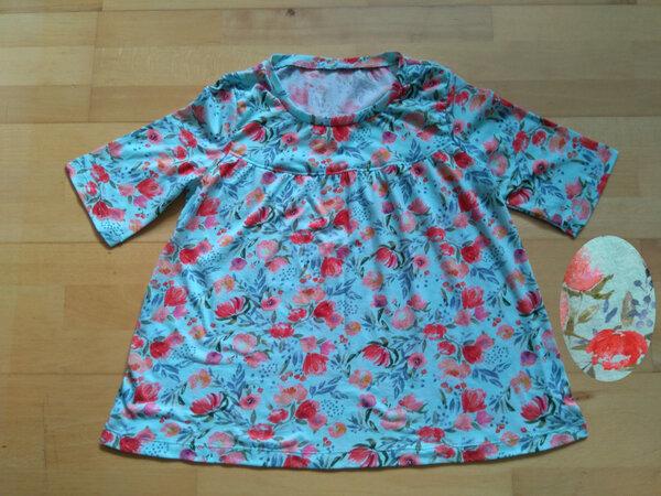 T-Shirt Blumen helltürkis (Alles Jersey Shirts & Tops)