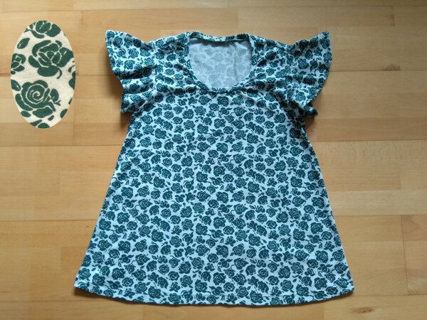 T-Shirt Rosen grün (Lady Fleur von mialuna)