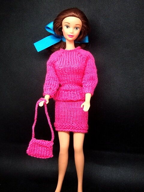 Gestricktes Kostüm für Barbie lila-rot