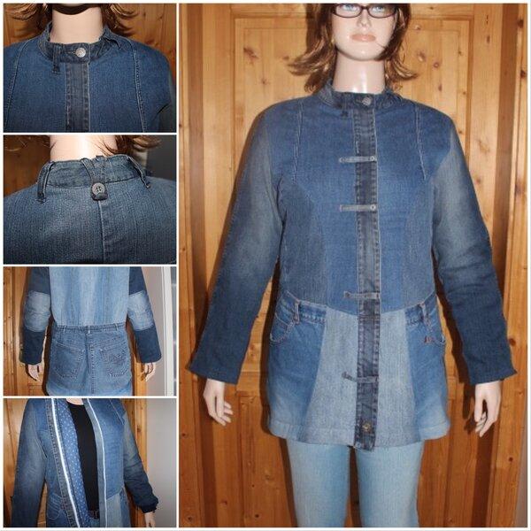 Jacke aus alten Jeans mit wattiertem Futter
