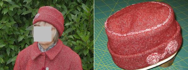 Mütze aus dem Rest vom Jackenstoff mit Schneckenverzierung