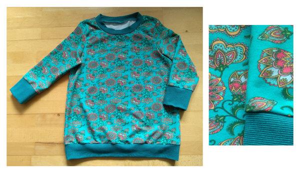 Sommerpulli Blumen türkis (Alles Jersey - Shirts & Tops)
