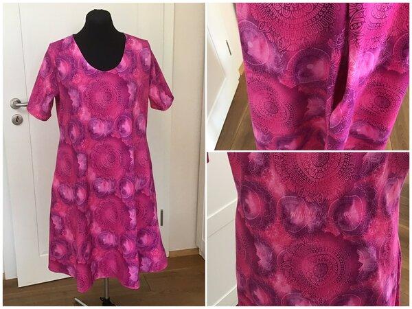Kleid mit ausgestelltem Rock und Nahttaschen